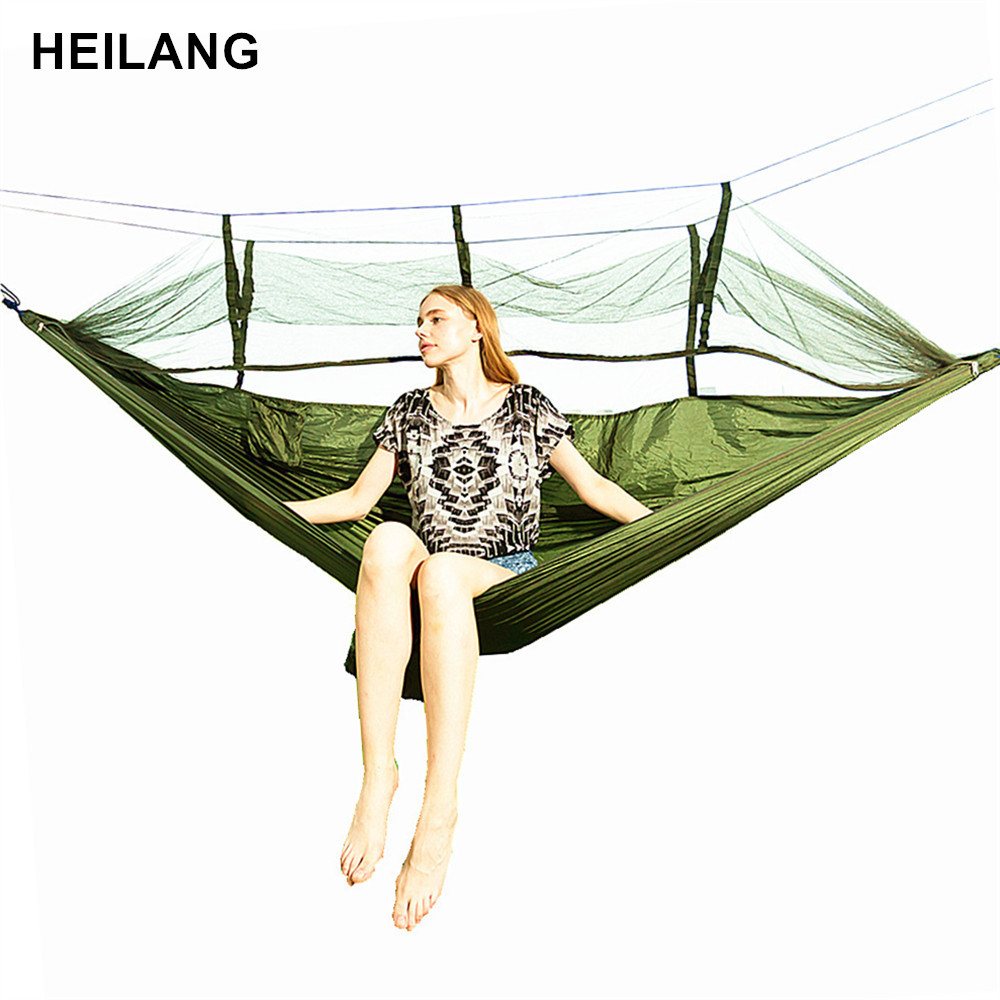 260cm*140cm 1-2 Person Outdoor Mosquito Net Parachute Hammock Camping Hanging Sleeping Bed Swing hamac hamaca Drop shipping 1 2 person mosquito net parachute hammock outdoor camping hanging army green sleeping bed swing portable double chair hamac