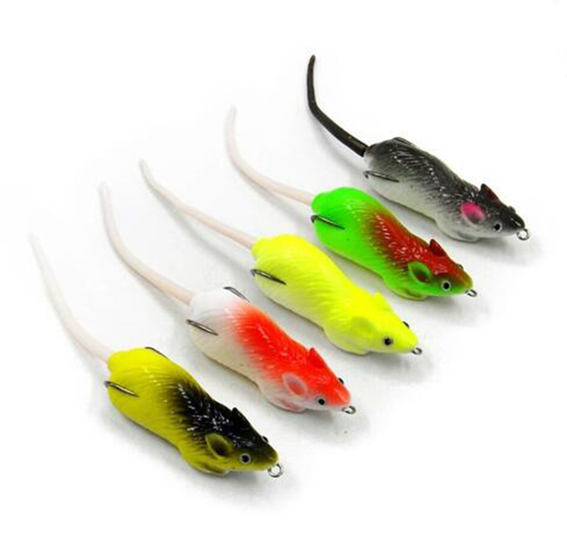 5pcs top water soft mouse fishing lure 7cm isca for Mouse fishing lure