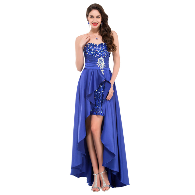 New Arrival High Low Evening Dress 2017 Short Front Beaded Sequin