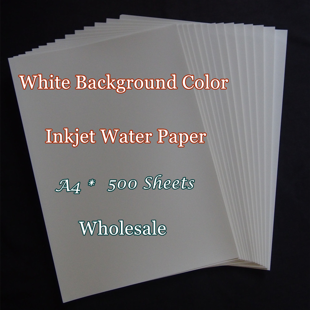 (500pcs/lot) Wholesale A4 Paper Inkjet Water Slide Decal Transfer Paper White Background Color Waterslide Decal Paper For Candle