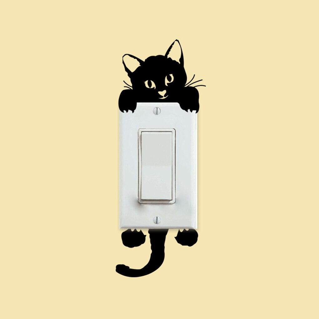 DIY маленький кот Свет Наклейка на стену для выключателя стикер домашняя Декорация-наклейка