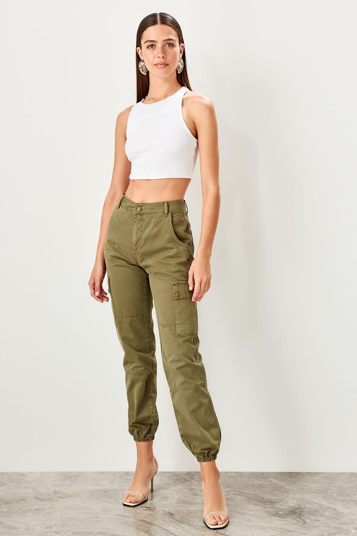 Trendyol Khaki Cargo Pocket High Waist Jogger Jeans TWOSS19JE0008