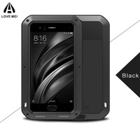 LOVE MEI Life Water Shockproof Dual Aluminum Metal Case Tempered Glass Cover For Xiaomi Mi6 M6