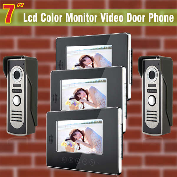 7 inch LCD video door phone intercom doorbell video intercom wired home intercom system doorbell intercom 2 Camera +3 Monitor серьги taya серьги