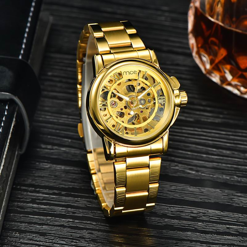 MCE Luxury Brand Automatic Clock Watch Women Golden Full Steel Strap Relogio Feminino mechanical Analog Dress