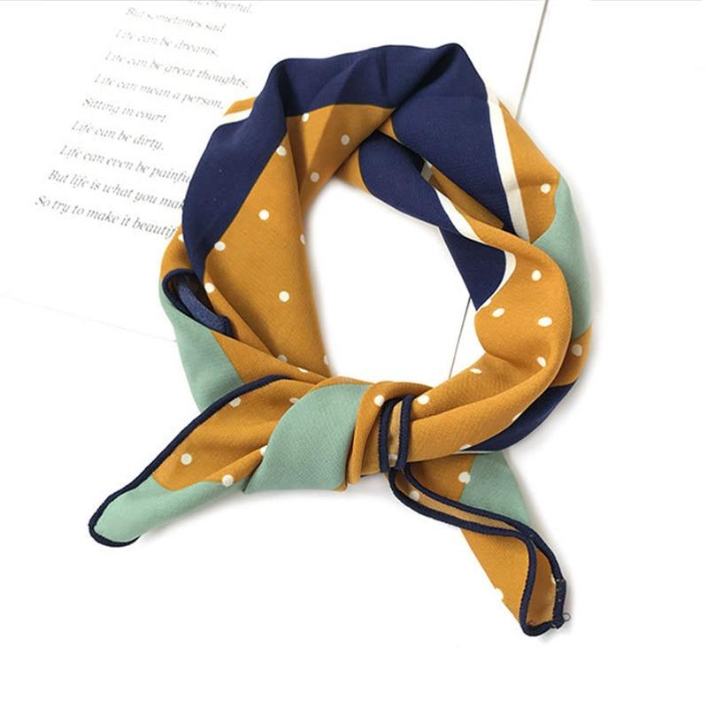 LNRRABC 46*46cm Spring Summer Retro Scarf Multicolor Scarf Stripe Design Print Kerchief Woman Neck Shawl Wraps Echarpe