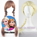 Hot Sale 2015 Elsa Anna Wig Ponytail Long Weaving Micro Braided Wigs Cosplay Adult Children Fluffy Cartoon Hair For Halloween