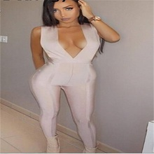 2016 Beige Deep V Neck Women Sexy Slim Bandage Jumpsuits Hot Sale HL AA-768