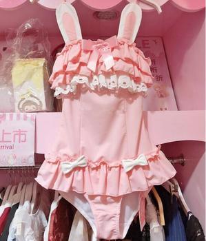 Sukumizu Swimsuit Swimwear Women Kawaii Japanese Anime Black Cat & Powder Rabbit Cosplay Costume Evangelion Bathing Suit