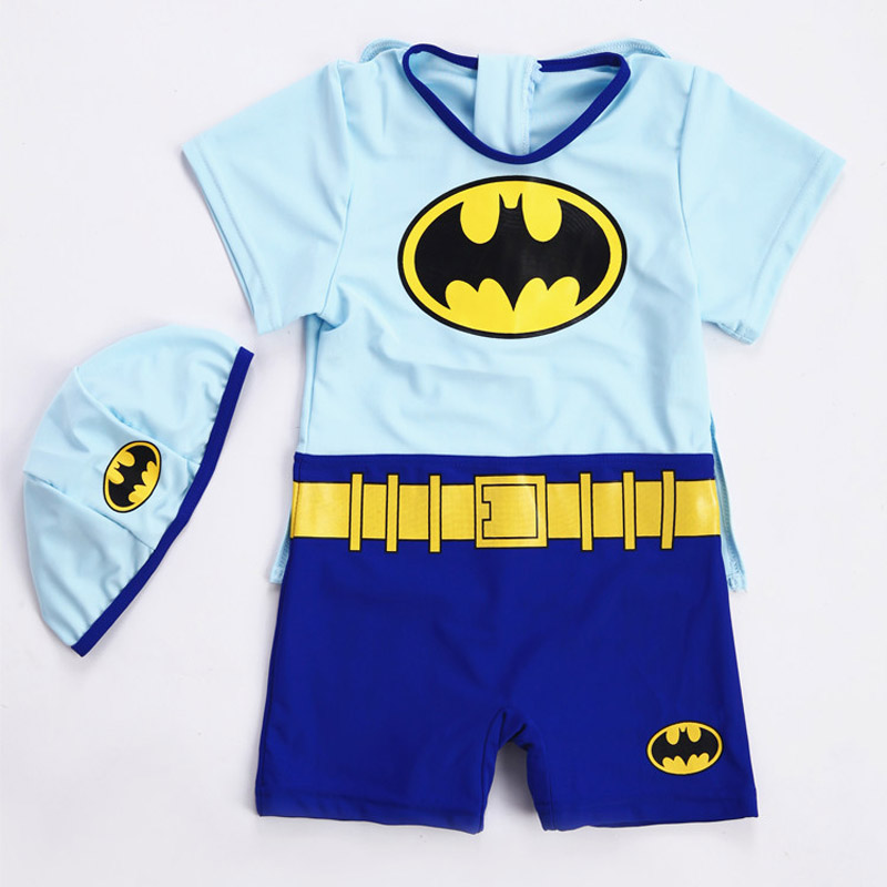 2018 Baby Boy Swimwear Batman Rash Guards Children Swimsuit Baby Bathing Suit Swimming Trunks For Children One-piece Swimsuit 1 8 years old kids swimsuit for girls lovely yellow duck bathing suit children swimsuit princess one piece swimwear swimming cap