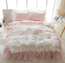 Cute sweet single double bedding sets adult teen girl,cotton twin full queen king home textile bed skirt pillow case quilt cover
