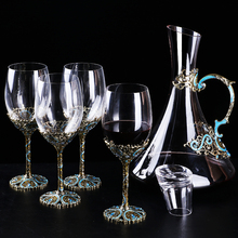 Nordic style Red Wine goblet enamel color wine Glass Cup Large Capacity Champagne glass cups and decanter