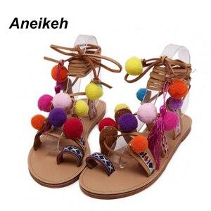 Image 2 - Aneikeh 2020 Sandalias Pompones Suede Pom Pom Gladiator Sandals Women Lace up Knee High Flat Sandal Women Shoe Summer Brown