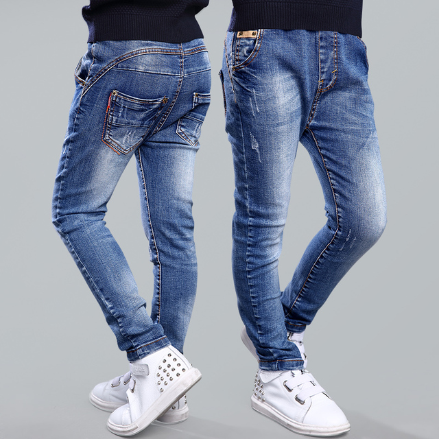 TUTUYU 2016 Spring Autumn Boys Jeans Fashion Children's Elastic Style Jeans Long Blue Denim Jeans Children Trousers Boys Clohtes