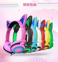 Cat Ear Earphones Children S Foldable Headphones Flashing Glowing Cosplay Fancy Gaming Headset With LED Light