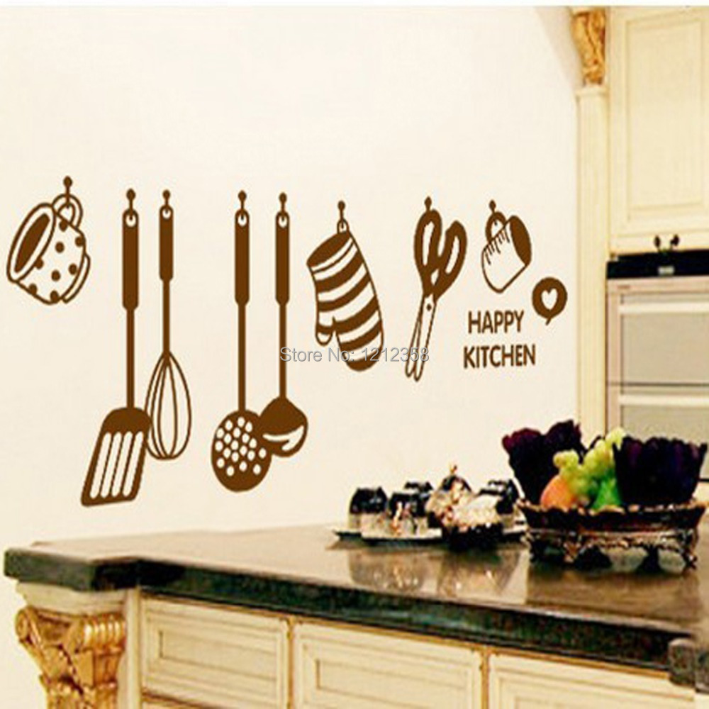 DIY Adhesive PVC Cartoon Wall Art Stickers Wallpapers Decals For Dining Room Background Kitchen Ware In From Home Garden On Aliexpress