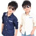 Meninos camisas de outono novo estilo crianças clothing manga comprida roupa dos miúdos de escola marca de moda casual camisa do menino para 2-10y
