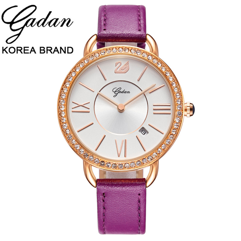New YADAN Hot Women dress luxury Crystal glass watch New Girl fashion casual quartz original leather watch Relogio Feminino