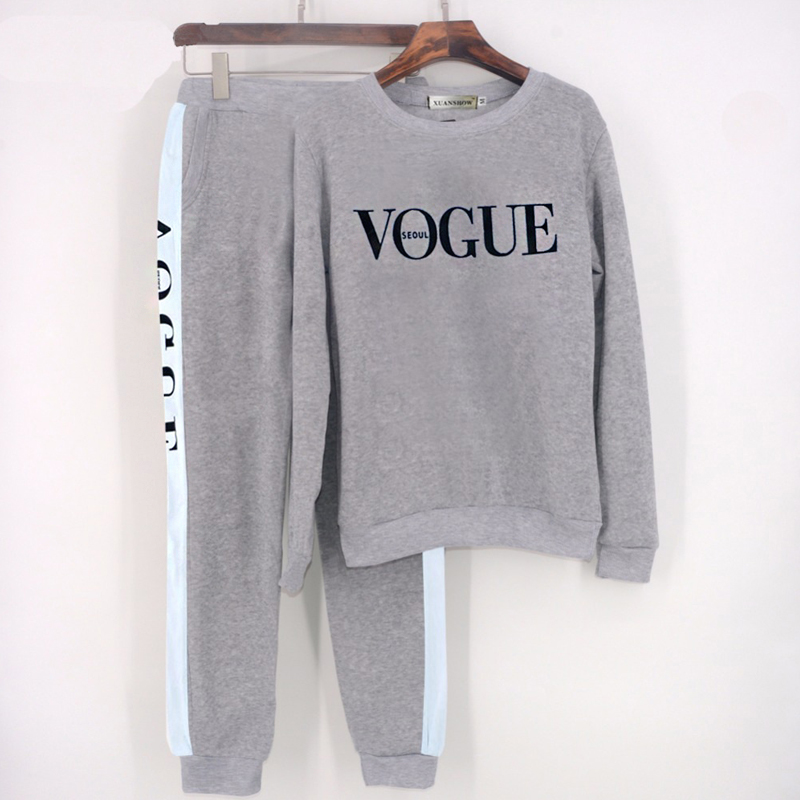 Long Sleeve 2 Piece Set Women Fashion VOGUE Letter Printed Sweatshirt Pants Suit Tracksuits Women Autumn Winter Two Piece Outfit in Women 39 s Sets from Women 39 s Clothing