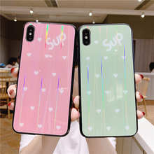Luxury Laser Tempered Glass Case For iPhone X XS Max XR Phone Cases Cover 7 8 6 6s Plus Shell