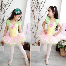 ФОТО free shipping 2013 high quality child dance dress and leotard dance costume short-sleeve clothes