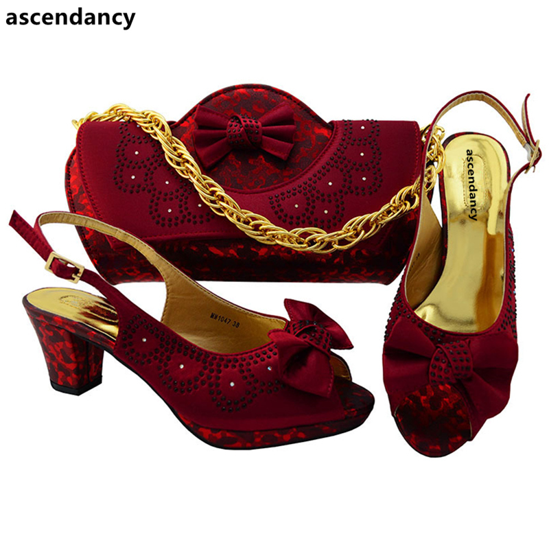 Latest Wine Color Italian Shoes With Matching Bags Ladies Italian Shoe And Bag Set Decorated ...