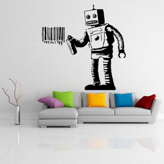 gy05 funny cartoon robots vinyl wall sticker boys room wall art