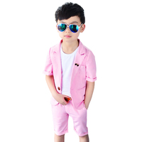 Boys Summer Suits Short Sleeve Blazer And Shorts 2PCS Clothing Sets Pure Cotton Outfits Candy Color