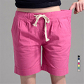 S-4XL 2016 Summer New Fashion Loose Cotton Linen Elastic Waist Women Bermuda Half Long Basic Shorts Plus Size Candy Colors