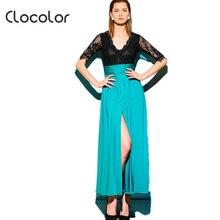 Clocolor длинное платье Зеленый дешевые глубоким v-образным вырезом Половина рукава блузки Лоскутная цветные ботильоны Длина платье длинное платье