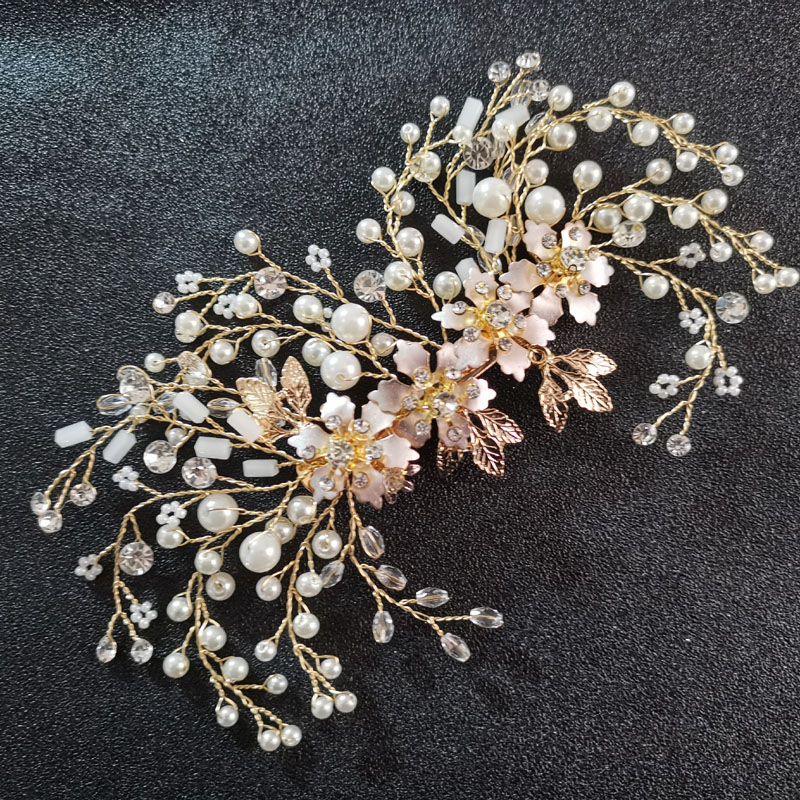 SLBRIDAL Gold Crystal Rhinestone Pearls Flower Wedding Hair Clip Barrettes Bridal Headpiece Hair Accessories Women Hair Jewelry in Hair Jewelry from Jewelry Accessories