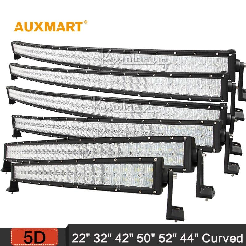 "Prix pour Auxmart 5D 22 ""32"" 42 ""50"" 52 ""54"" courbe LED light bar 12 v 24 v combo faisceau LED Bar Offroad camping-car camion 4x4 4WD SUV ATV Barra"