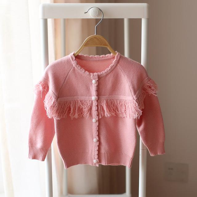 2017 primavera e no outono novo estilo de meninas cardigan camisola de malha camisola crianças moda bebê bonito camisola