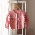 2017 primavera y otoño nuevo estilo de las muchachas de la rebeca suéter de punto suéter de los niños moda niños lindos del bebé