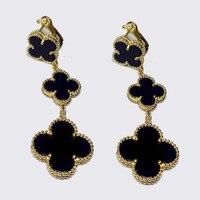 Brand Pure 925 Sterling Silver Jewelry For Women Drop Flower Earrings Grey Green Red 3 Clover