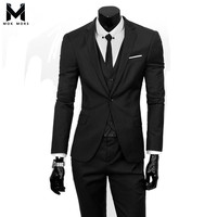 2018 New Business Casual Solid Color Single Button Long Sleeve Men Suits Fashion Casual Professional Formal Cotton Mens Suit