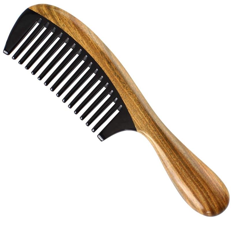 Handmade 100% Natural Green Sandalwood Hair Combs - Anti-Static Sandalwood Scent Natural Hair Detangler Wooden Comb (Buffalo H