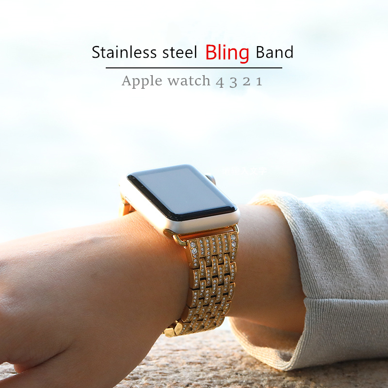 Bling strap for Apple watch band 38mm 42mm iWatch 4 band 44mm 40mm Diamond stainless steel watchband bracelet Apple watch 4 3 21