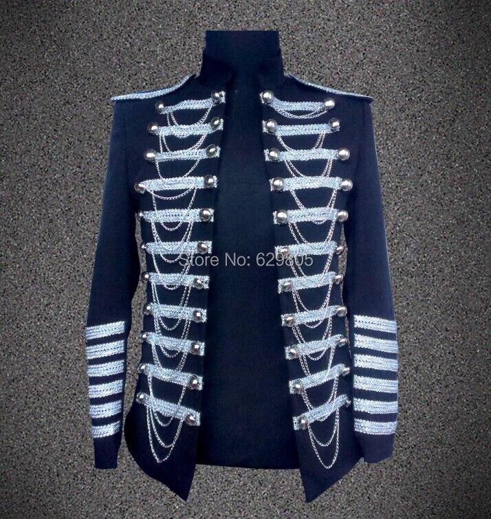 Hommes mode noir vêtements veste homme mince Costumes vêtements body  manteau costume de chanteur Top Blazer pour spectacle de Performance 57b375c6089