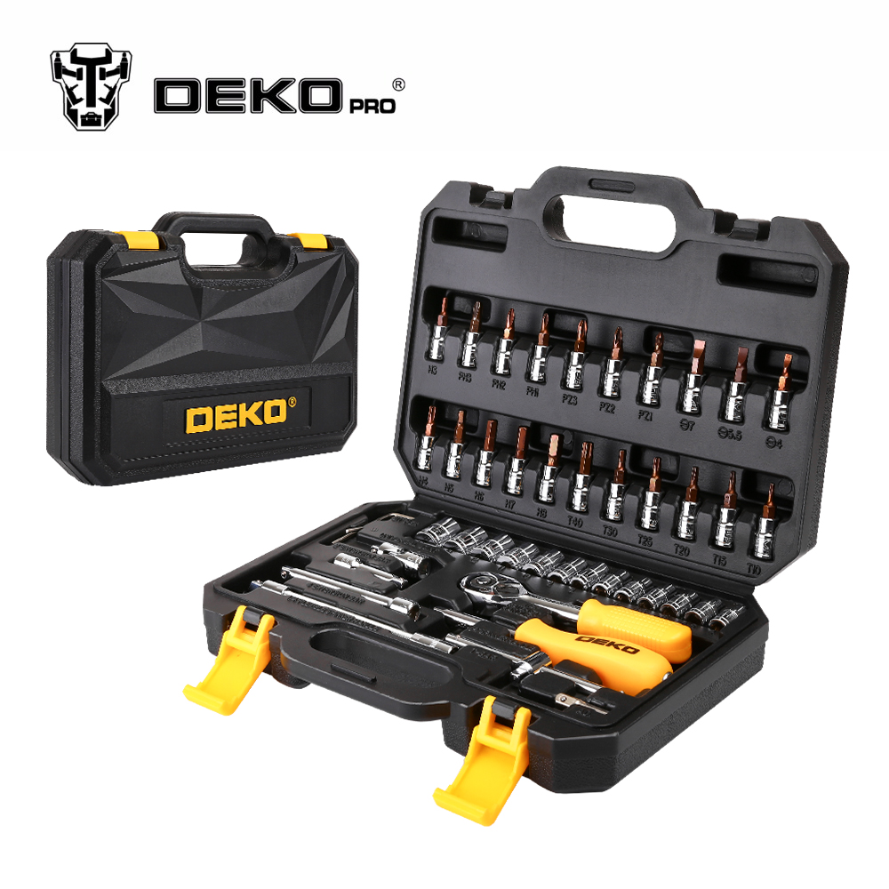 DEKOPRO 46-Piece Hand Tool Set General Household Hand Tool Kit with Plastic Toolbox Storage Case Wrench Screwdriver Socket 18 pcs multifunction hand tool set general household hand tool kit with plastic toolbox storage case plier wrench hammer set