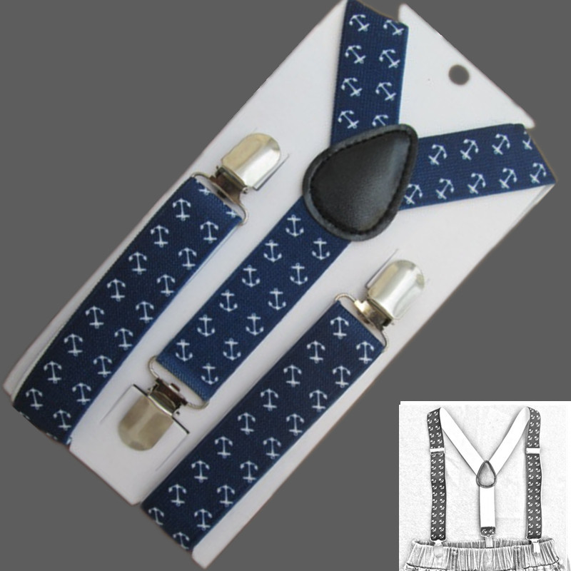 BD060--New Arrival kids susepdners anchor print navy blue braces for baby 2.5*65cm 3 clips-on Children Accessories free ship