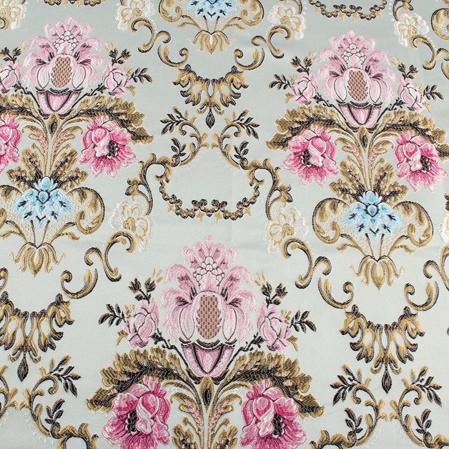 tela de tapicería de patrón floral Por Metros Rosa Cortina