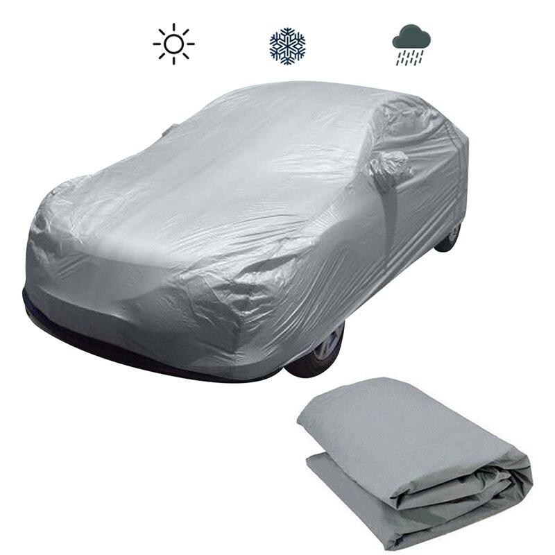 Universal Volle Auto Deckt Schnee Eis Regen Wasserdicht Staub Sonne UV Regen Schatten Abdeckung Silber Größe S-XL Auto Auto Im Freien protector