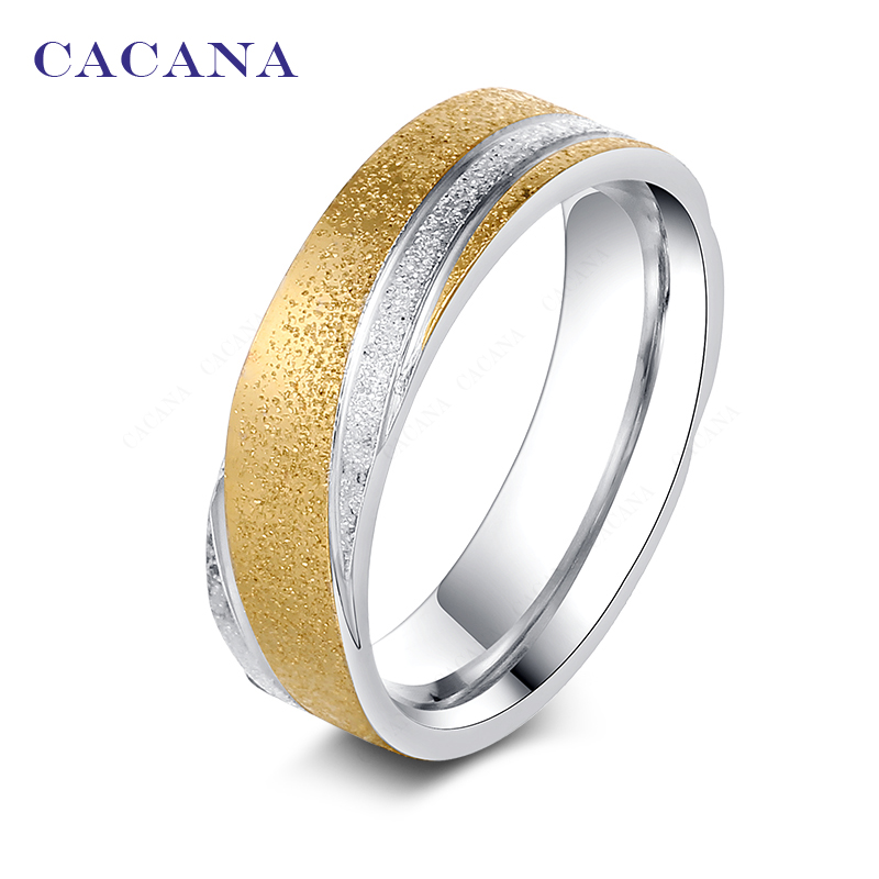 CACANA stainless steel rings for women 18k gold plated fashion shining sand on jewelry wholesale NO.R81