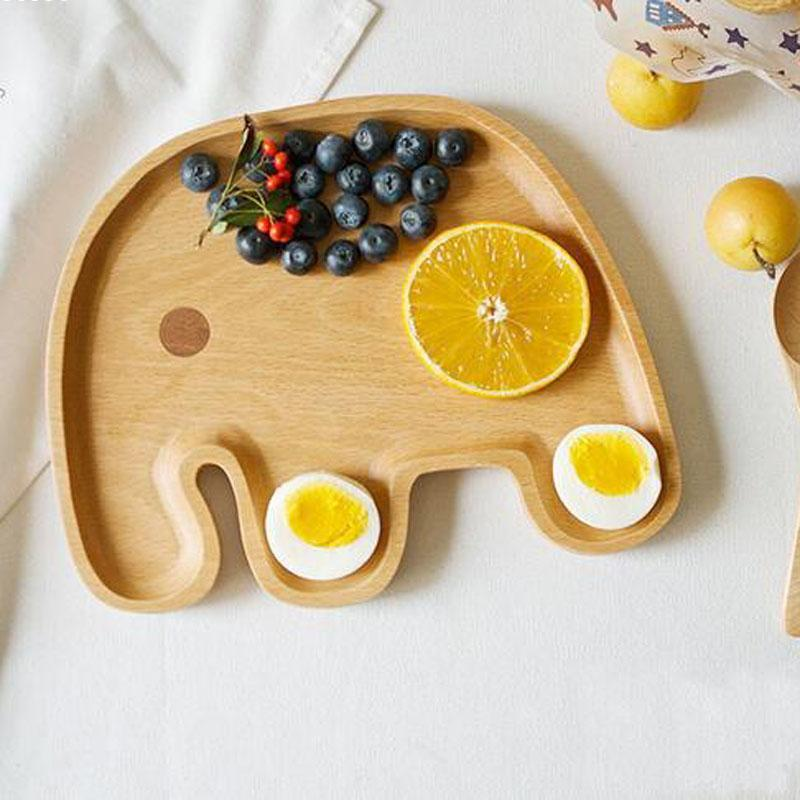 High quality wood Baby Infant Cute Feeding Plate Fruit Dishes Kids Elephant shaped Child Tableware B2 silicone integral placemat infant child dishes grid plate baby baby food dish cup