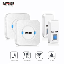 DAYTECH Wireless Door Bell Chime Kits Waterproof IP55 300M In Open Area 55 Rings EU/US/UK Plug 2 Receivers+2 Transmitter Buttons