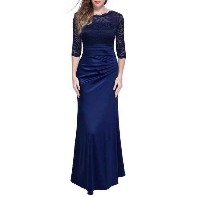 iRicheraf Elegant Formal Evening Party Dresses Plus Size Solid Lace Hollow Out O-neck Women Summer Maxi Long Vintage Dress