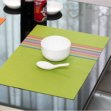 1pc Braided Placemat Table Pad PVC Heat-insulated Placemat Colorful Style Heat-Resistant Pad Mat 45cm*30cm 1681ZD