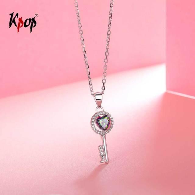 Kpop 925 Sterling Silver Key Necklace Graduation Gift Idea Delicate Jewelry Rainbow Stone CZ Tiny Heart Key Necklace 6040B