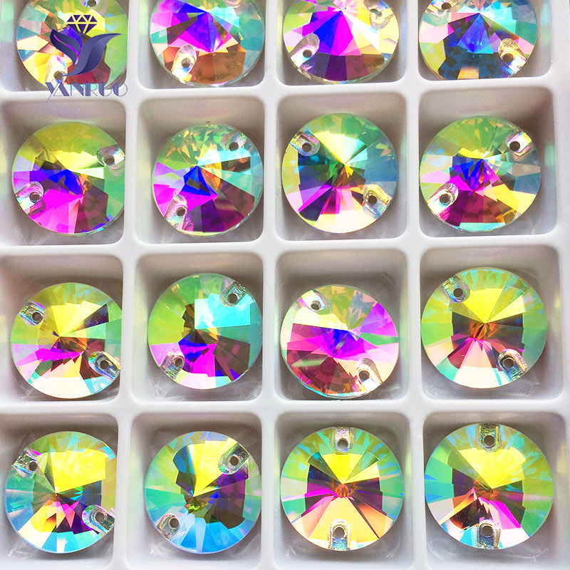 YANRUO 3200 Rivoil Top qualité AAAAA coudre-On Rivoli verre cristal rond coudre sur strass pierres pour vêtements robes
